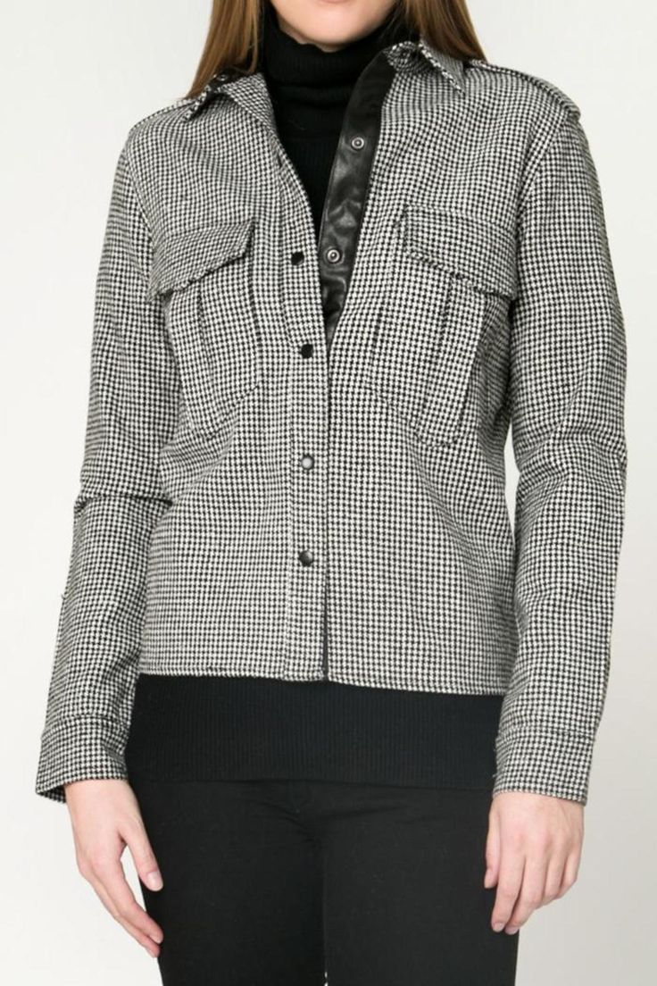 Button down, houndstooth shirt with black leather trim.    Houndstooth Crop Shirt-Jacket by Movint. Clothing - Jackets, Coats & Blazers - Jackets Los Angeles, California