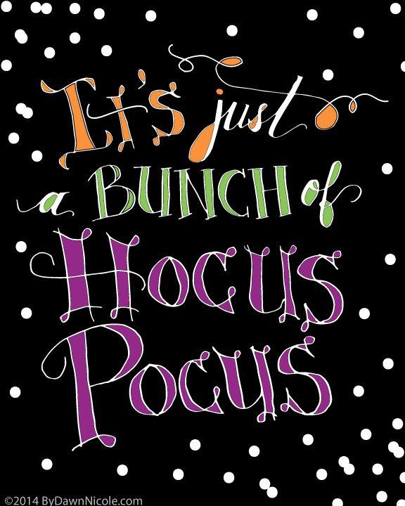Free Hand Lettered Halloween Printable | Bydawnnicole.com #halloween  #hocuspocus