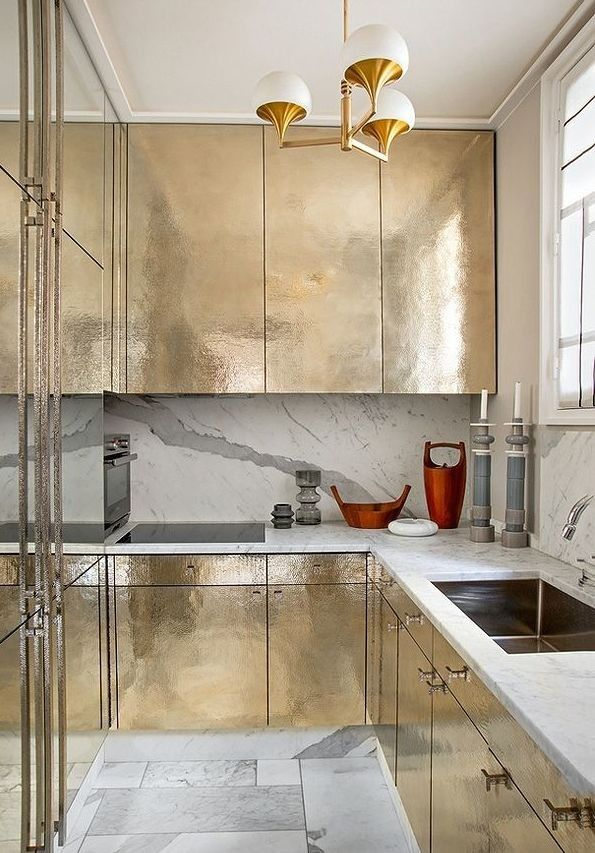 French Metallic Kitchen | Remodelista - I'm a gold girl thru and thru - but never in my wildest dreams could I ever have imagined using gold like this. I luv it so much.: