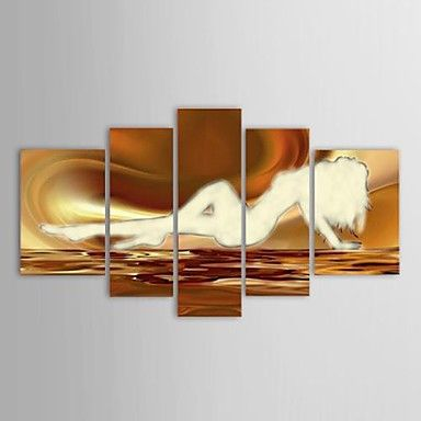 Hand Painted Oil Painting Abstract Nude Beautiful Girl with Stretched Frame Set of 5 – AUD $ 200.19