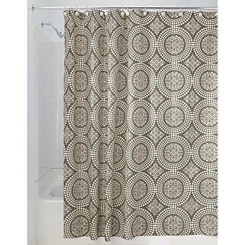 InterDesign Medallion Shower Curtain 72 by 72-Inch White/Taupe