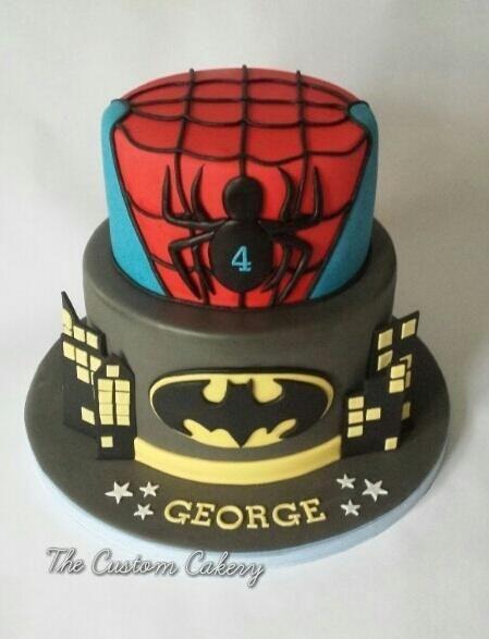 Superheroes Spiderman Batman Cake