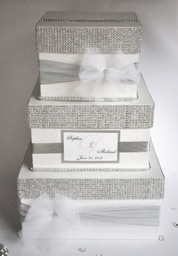 Card box / Wedding Box / Wedding money box - 3 tier - Personalized.  via Etsy.