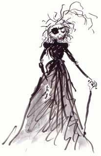 """""""The Witch"""" from Tim Burton's sketchbook, whil designing characters for the film Big Fish."""