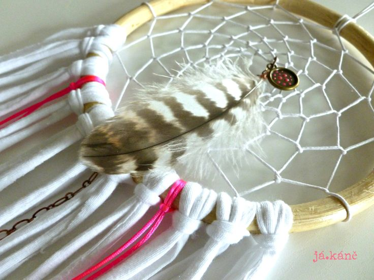 Dreamcatcher white neon pink natural tribal nursery bedroom crib new baby wall decoration by jakanestudio on Etsy