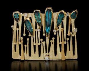 Judith Kaufman, brooch, gold, tourmaline, diamonds