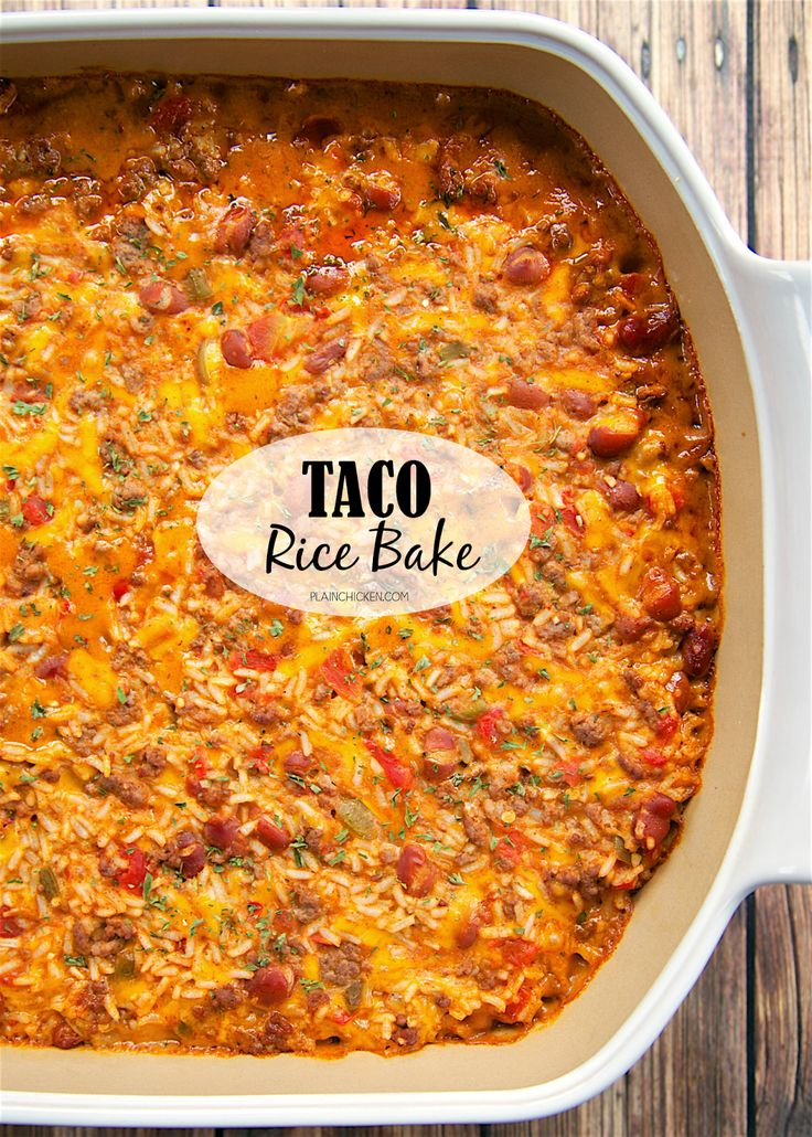 Taco Rice Bake - loaded with taco meat, beans, Rotel, cheese, and rice. It's a full meal in one dish! We like to top the casserole with our favorite taco toppings - cheese, sour cream, jalapeños and guacamole! This a great change to our usual taco night!!