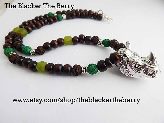 African Rhino Necklace Jewelry Silver Rhinoceros Pendant African Wildlife Rhinoceros Mens Ladies Afrocentric Unisex Beaded Green Brown by TheBlackerTheBerry