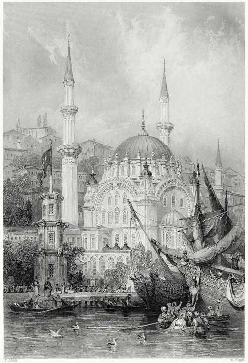 Nusretiye Mosque, in Tophane district of Beyoğlu, Istanbul.    Thomas Allom, from Constantinople, by Robert Walsh, London, 1839.