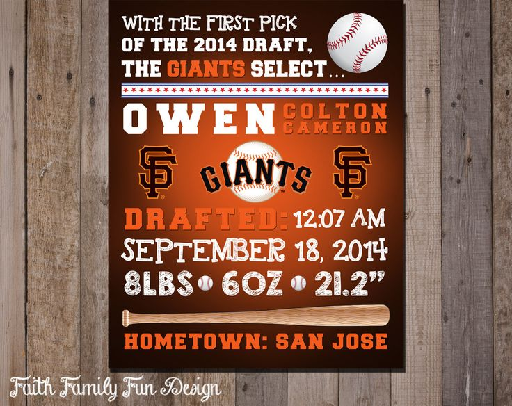 MLB SF Giants Baseball Wall Art Birth Announcement. Personalized! Sports Room Decorations. Baby Shower Gift. Boys Room. San Francisco Art. by FaithFamilyFunDesign on Etsy