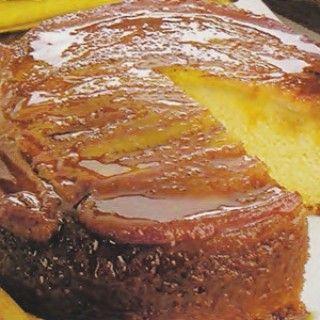 Receita de bolo de banana invertido