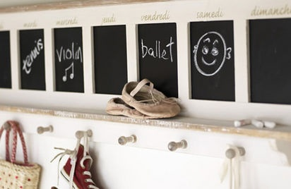 I'm not especially bowled over by the chalkboard hall storage, but am pinning to remind myself to revisit the link on how to family-proof a hall.