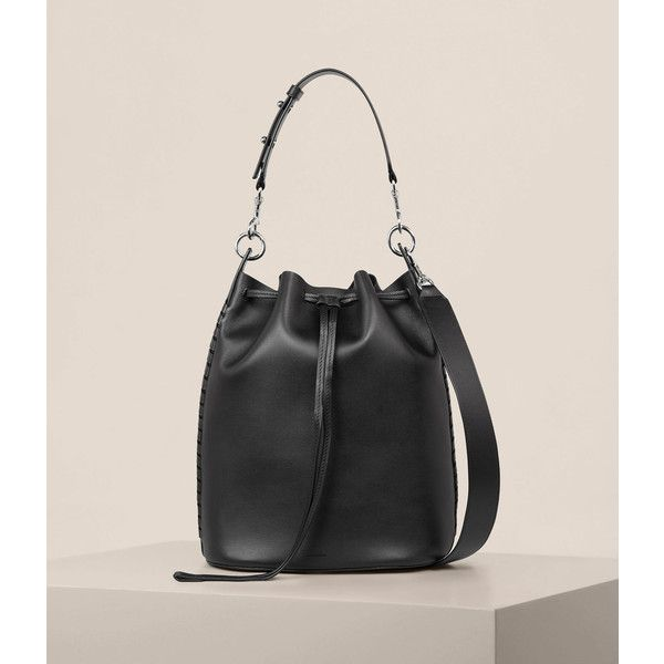 AllSaints Ray Lea Bucket Bag ($398) ❤ liked on Polyvore featuring bags, handbags, shoulder bags, black, man tote bag, leather shoulder handbags, leather handbag tote, leather tote purse and man leather shoulder bag