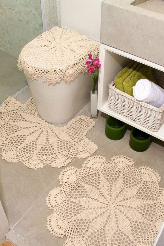 Simple ecru crochet bathroom decor with diagrams. 92 best Crochet Things For Bathroom images on Pinterest   Bathroom