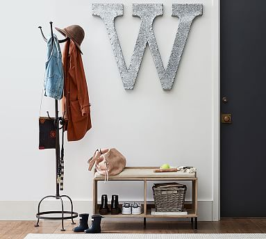 Perfect for my small entry. Need a big K! Cast Metal Standing Coat Rack #ympotterybarn