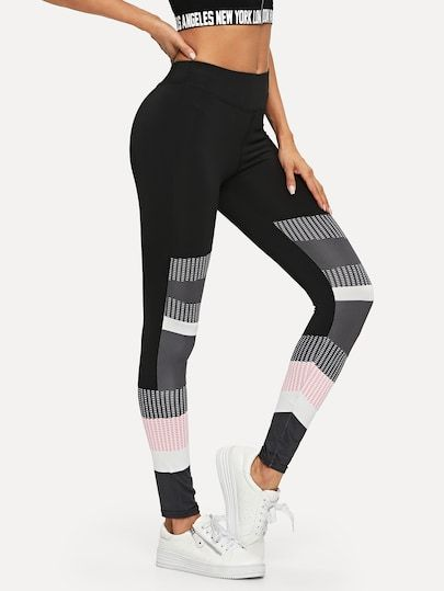 e3ac5cd106e8d Color Block Leggings #leggings #legging #shein #sheinside ,leather leggings  ,leggings