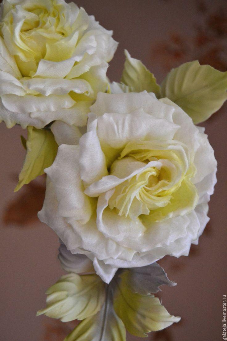 Купить Цветы из шелка Две розы - лимонный, роза, роза ручной работы, роза из ткани