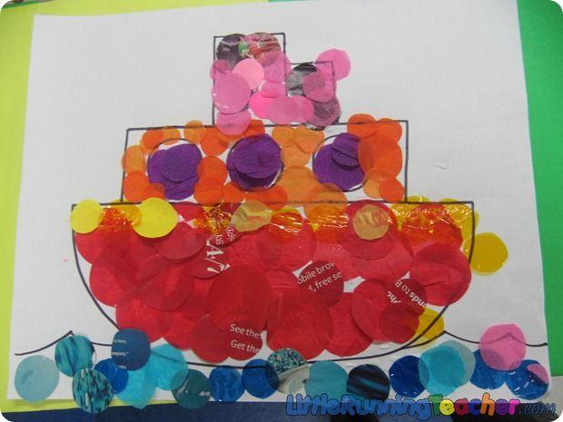 Stoomboot bestempelen met verf d.m.v. bijvoorbeeld een kurk