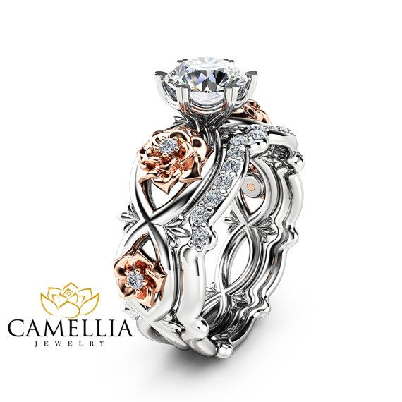 Wedding Flowers And Rings: Floral Moissanite Engagement Ring Set 14K Two Tone Gold