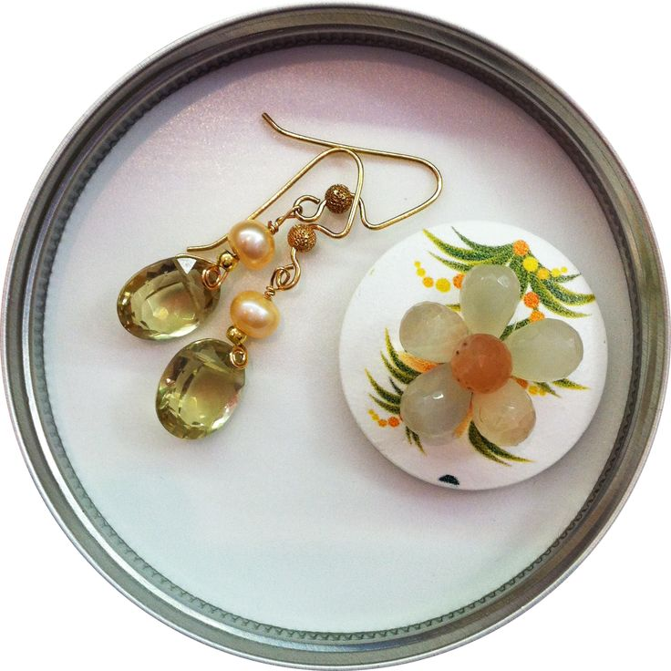 Citrine and pearl earrings
