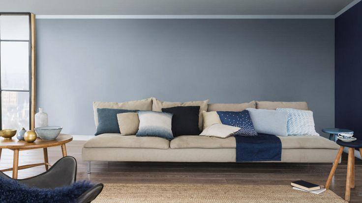 Nordsjö - Ambiance Silkematt Väggfärg Base White Ambiance Silkematt är en trendig matt väggfärg för målning inomhus på puts, betong, lättbetong, gipsskivor, glasfiberväv m m. Vardagsrum, Blåvägg.