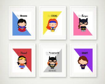 Set stampa supereroe supereroe parete arte arredamento