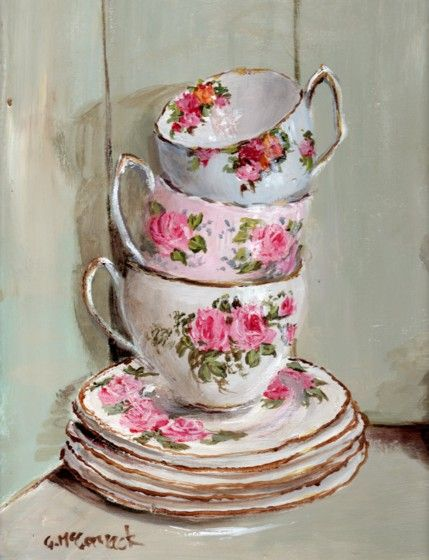 - Three Stacked Tea Cups in a Vintage Cupboard -