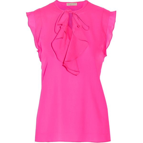 Emilio Pucci - Ruffled Wool-crepe Top ($368) ❤ liked on Polyvore featuring tops, pink, flounce tops, flutter-sleeve top, frilly tops, crepe top and frill top
