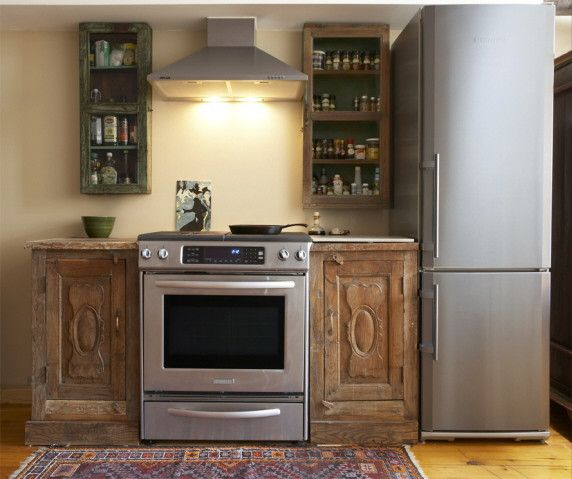 Inde-Art reclaimed wood kitchen cabinets