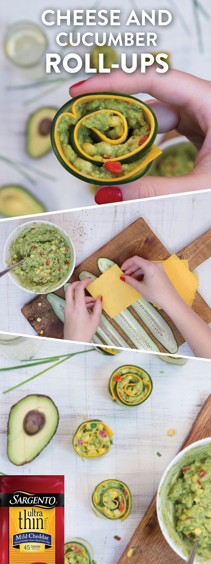 Looking for a summer appetizer recipe that is full of flavor and light? Check out our summer spin on the classic rollup appetizer. We've layered zesty corn guacamole between sliced cucumbers and our creamy Ultra Thin® Medium Cheddar slices, which have 45 calories per slice! This tasty appetizer is sure to be one of your new backyard BBQ favorites. To see the full recipe, go to sargento.com.