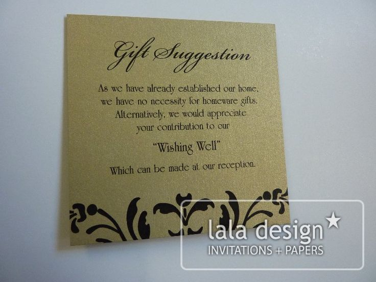 Black and gold gift suggestion card
