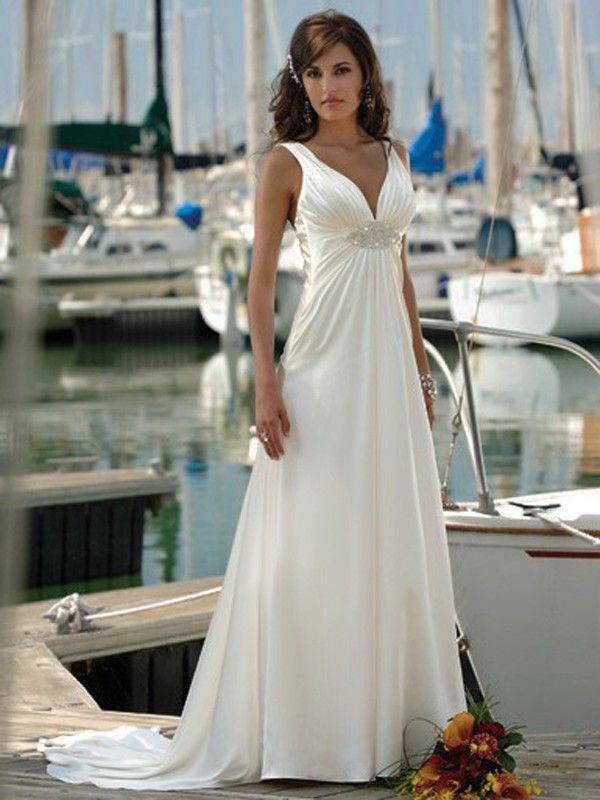 V Neck Chapel Train Sleeveless Taffeta Beach Wedding Dresses