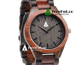 Houten horloge-huwelijksgeschenk Mens watch door TreeHutDesign
