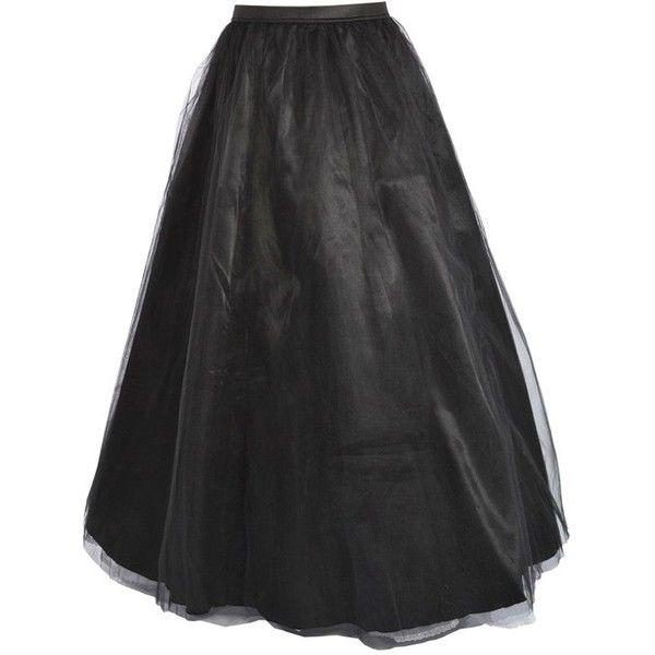 Black Satin Long Skirt 40