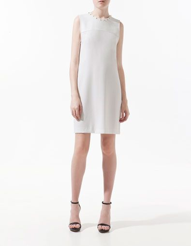 DRESS WITH STUDDED COLLAR - Dresses - Woman - ZARA United Kingdom
