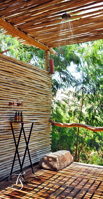 Bamboo..outdoors shower. Photos by T+S: Serra Cafema, Kaokoland | Luxury Hotels Travel+Style