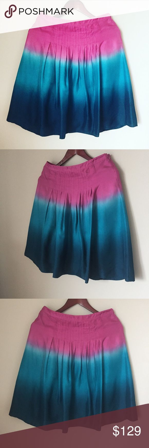 NINE WEST ombré pure silk skirt pleated midi Like new condition. Amazing saturated colors. Pire fine silk. Chanel Dior Zara Fendi Kenzo Prada Hermes Michael Kors Valentino Lacoste Louis Vuitton Balenciaga Alexander Wang Kate Spade Hugo Boss Burberry Prada Gucci Runway Fashion show.  Free people. Premuim Signature collection. Bundle with other items to get 15% off. Nine West Skirts Midi