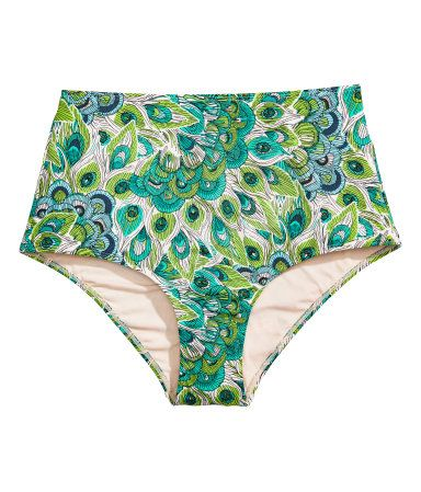 Green/peacock. Fully lined bikini bottoms with a printed pattern. High waist.