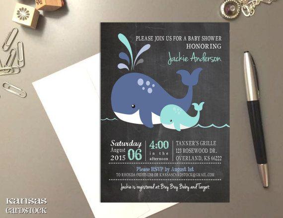 Whale baby shower invitation Chalkboard by KansasCardstock on Etsy