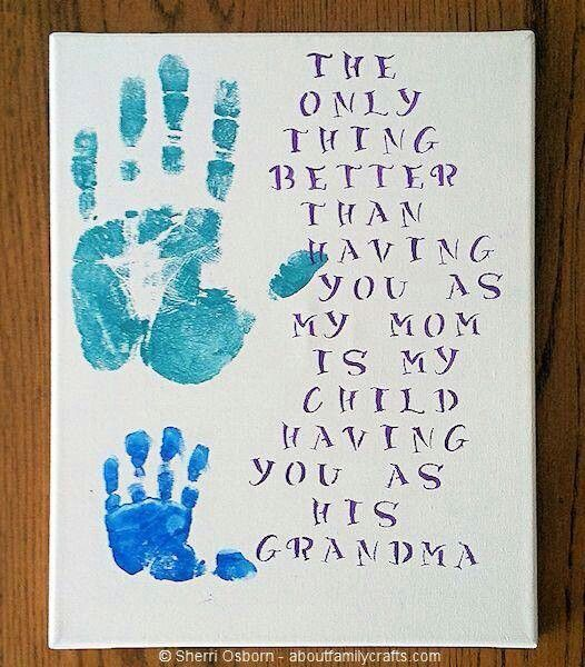 Handprint-Canvas | DIY Mothers Day Crafts for Grandma | DIY Gifts for Mom for Christmas