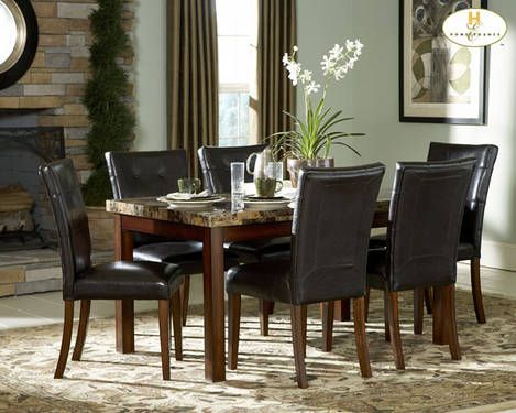 Brown Faux Marble Kitchen Dining Table w/6 Chairs -BRAND NEW... *** $499 ***  Contact Jay Kemp for additional information and questions regarding warranty.  Like us on Facebook for specials that we have going on and for additional information on products check us out at http://www.knoxfamilyfurniture.net
