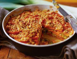 Baked Leek and Sweet Potato Gratin: Sweetpotato, Fun Recipes,  Hotpot, Vegetarian Editing, Baking Leek, Cashew Sweet Potatoes, Bake, Leek Baking, Potatoes Gratin
