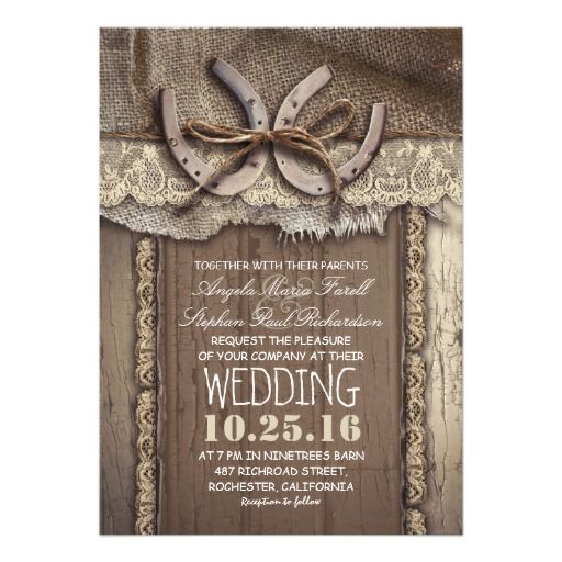 Unique design rustic country wedding invitation featuring two horseshoes tied with old twine ribbon. This western wedding invite is full of all charming details: decorated with ivory lace, composed on the old barn wood background and piece of burlap cloth.Perfect wedding invite for farm, barn and village weddings with western / country themes and horseshoe centerpiece accents. Wedding invitation for rustic summer, spring, fall and winter weddings!