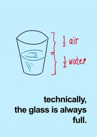 "1. An inspirational quote: ""Technically, the glass is always full."" This quote reminds me to always remain optimistic. I also love the cute and witty graphic (1/2 air, 1/2 water) because I love math and science! #modcloth #makeitwork"