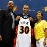 """Steph Curry knows his mom was an athlete.    """"She was ferocious,"""" Steph says. """"People say I get my feistiness, my aggressiveness from her.""""    Golden State Warriors top draft pick Stephen Curry (center) poses with his parents Dell Curry, who played 16 seasons in the NBA, and his mother Sonya, who played volleyball at Virginia Tech."""