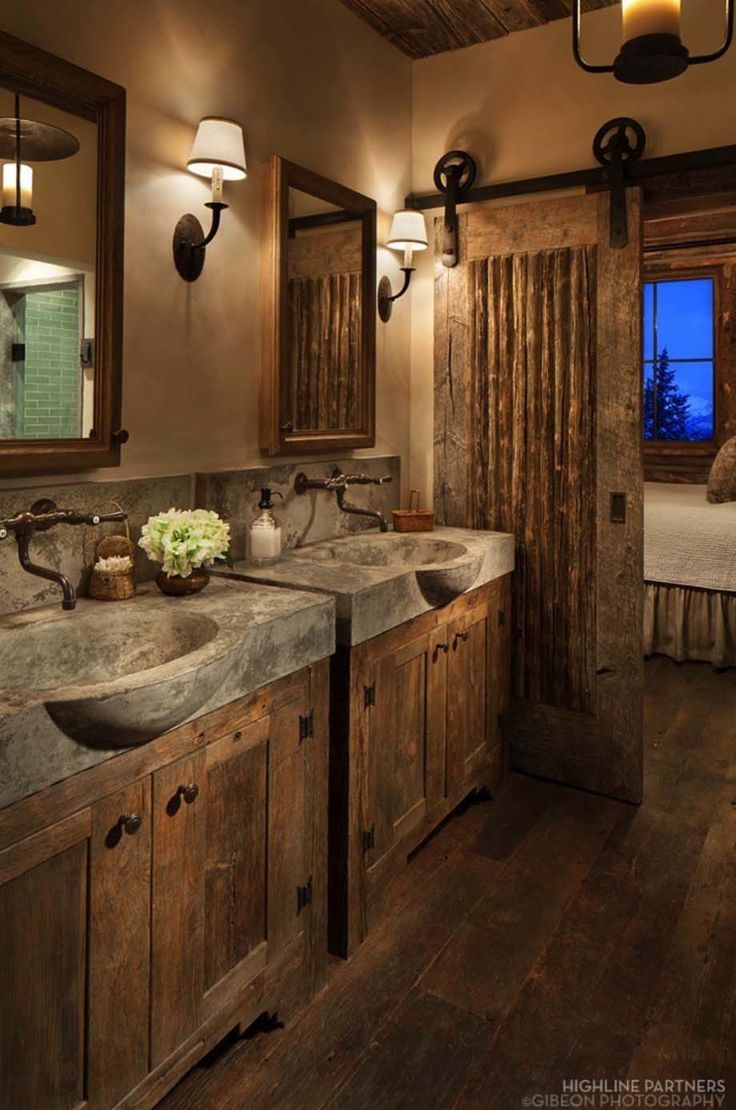 Rustic bathroom d cor with concrete sinks and barn door - Pictures of vanities in bathrooms ...