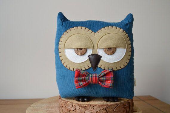 "Owl Cushion, Owl Pillow, Plush Owl, Stuffed Owl, Decorative Owl, Woodland Pillow (Petrol Blue with Custom Bow Tie) - ""Terry the Owl"""