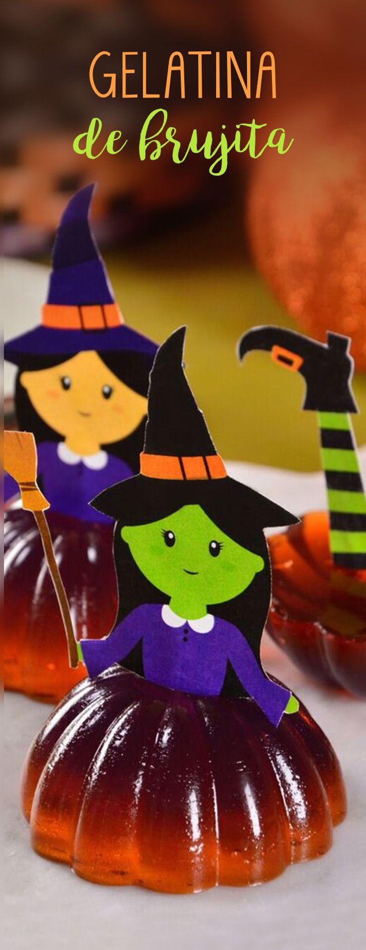 Si eres amante de las gelatinas tienes que probar estas gelatinas de bruja para Halloween y Día de Muertos. Es un postre fácil y rápido que le encantará a todos en tu fiesta de disfraces que puedes combinar los colores que prefieras.