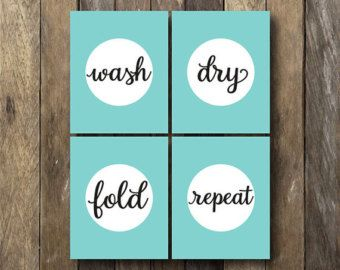 Keep Calm and Wash On Laundry Room Wall Decor Art by MyPoshDesigns