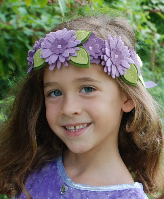 Flower Girl Hair Wreath Purple Felt Flower Crown by CuriousBloom, $30.00